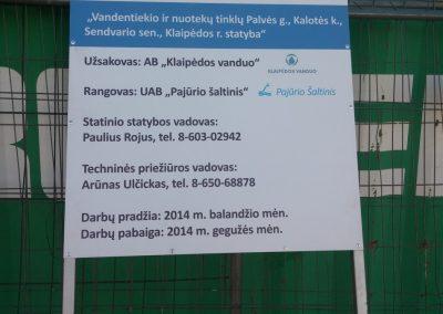 Vandentiekio ir nuotekų tinklų Palvės g., Kalotės k., Sendvario sen., Klaipėdos r. Statyba